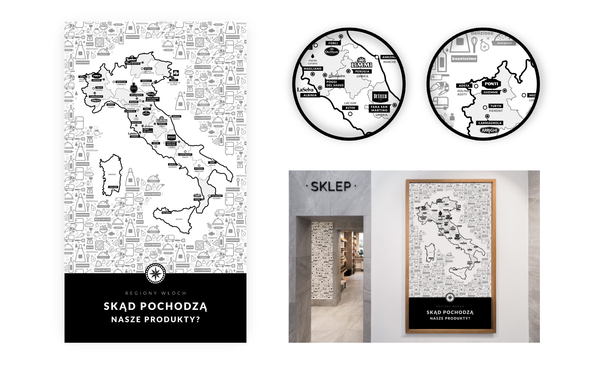Design of a map with italian producents of products from store