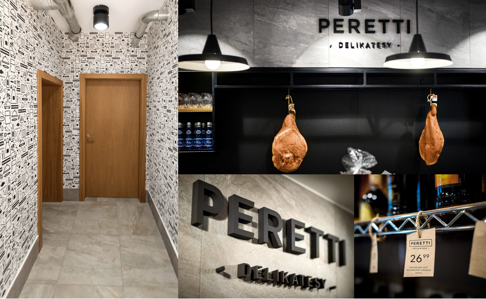 Interior of the store with elements od visual identity