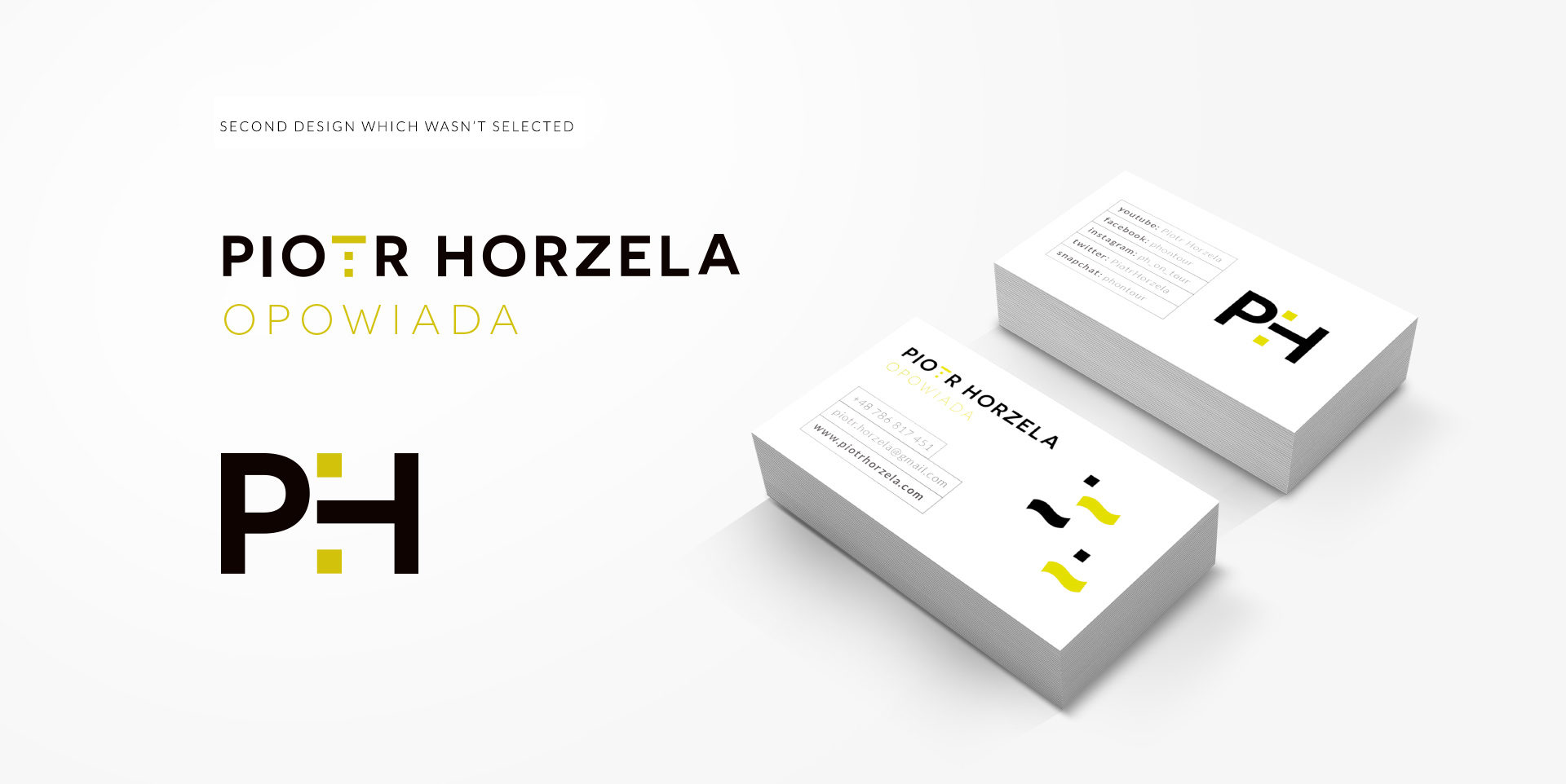 Propopsal of graphic identity for Piotr Horzela
