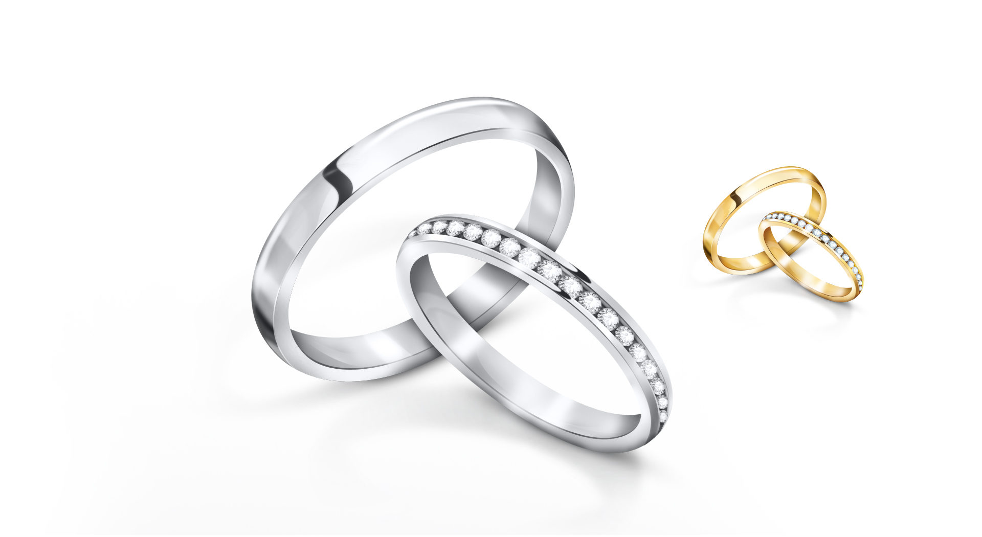 Gold and silver retouched wedding rings